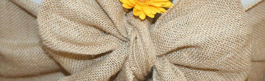 Hessian sash with flower detail